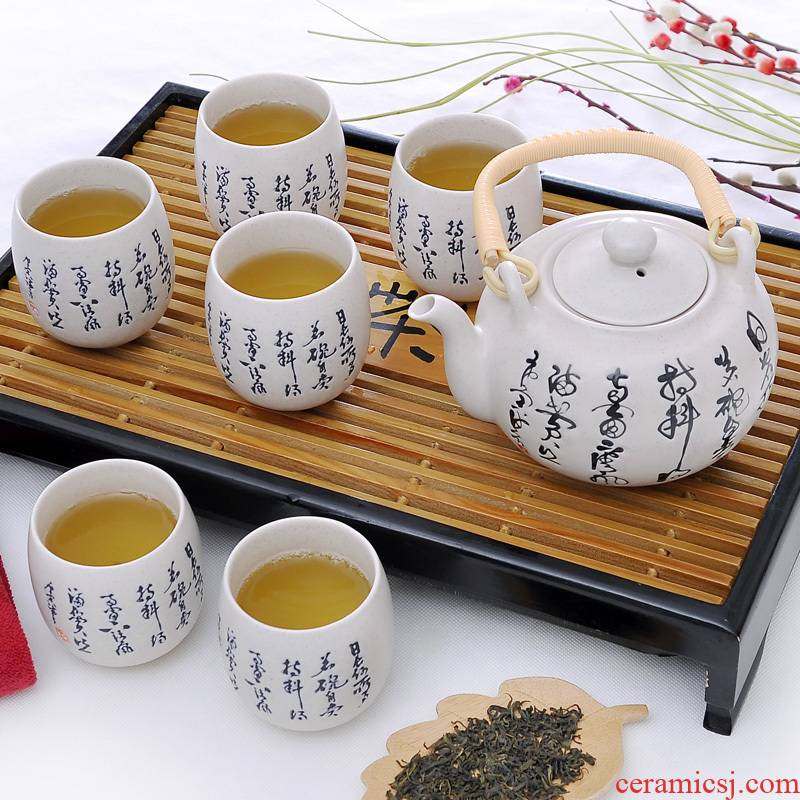 7 heads girder pot of tea set gift boxes of jingdezhen inferior smooth glaze teapot teacup poem porcelain tea set