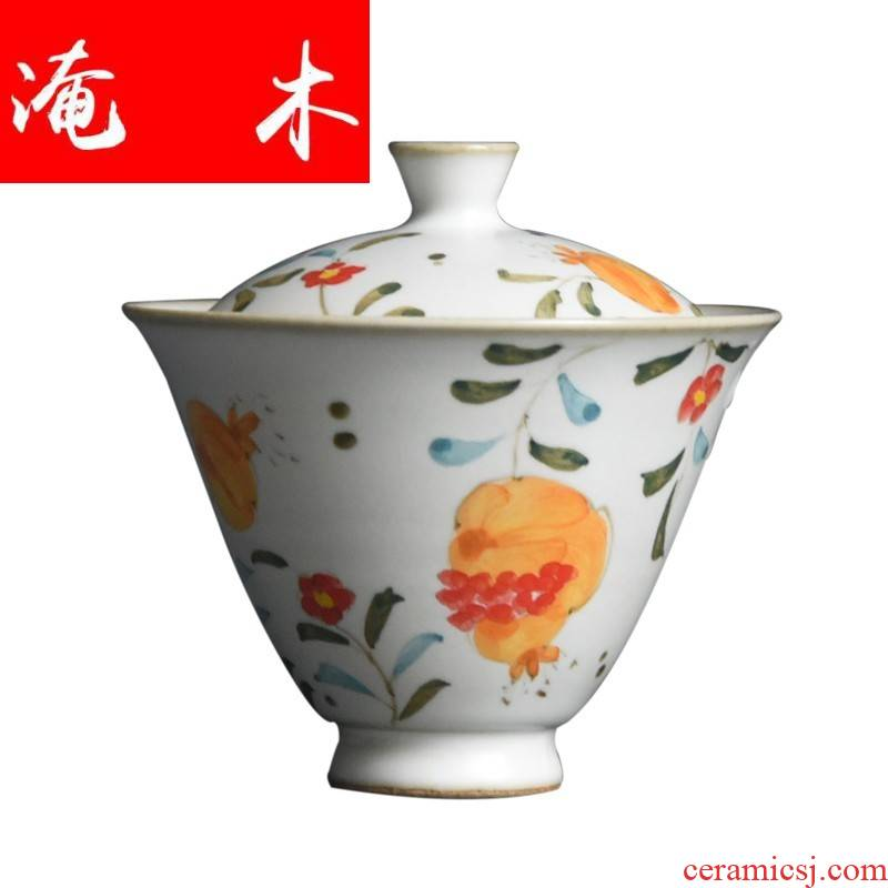 Flooded tureen pure manual hand - made wooden jingdezhen ceramics tureen pomegranate coarse pottery tureen kung fu tea set