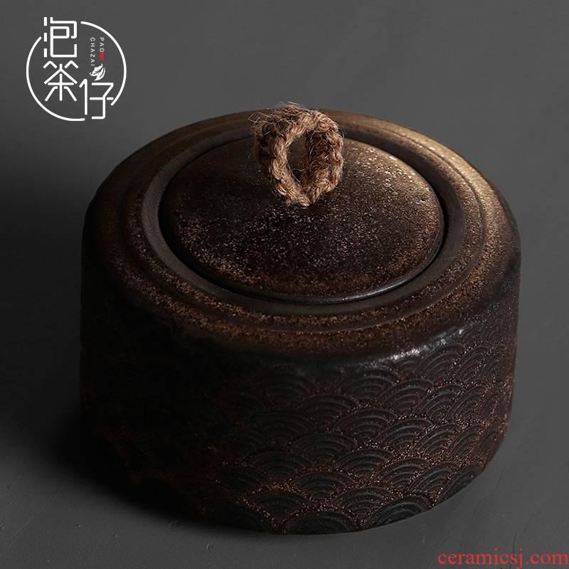 Ceramic seal pot home half jins of green tea caddy fixings storage tank general medium coarse pottery small store tea pot