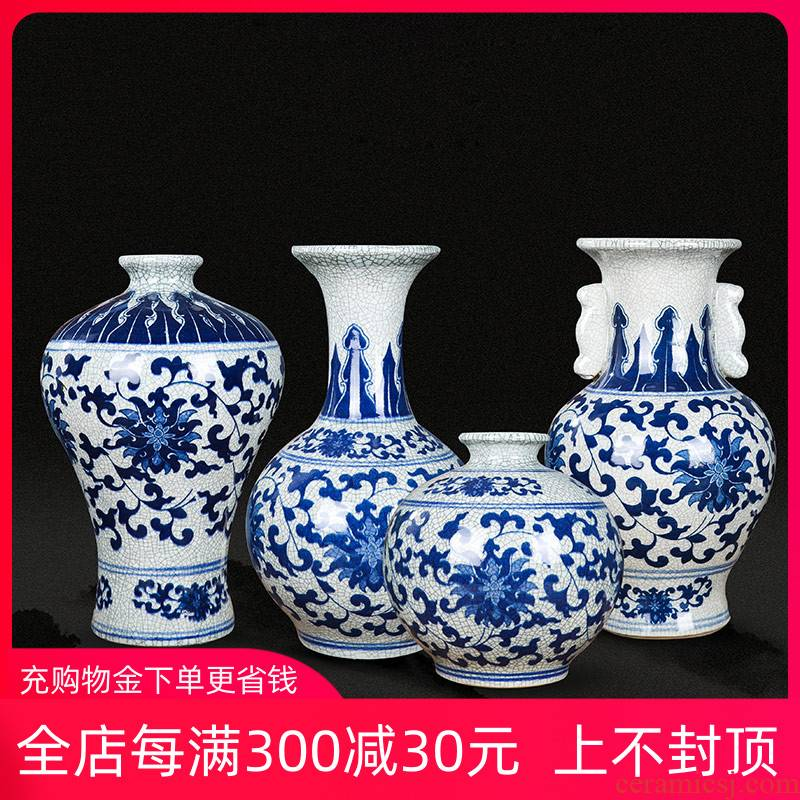 Jingdezhen ceramics vase archaize sitting room place Chinese blue and white porcelain is a large crack glaze open flower decoration