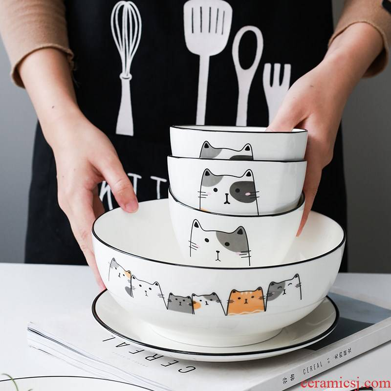 Combination dishes suit household Nordic ceramic contracted eats bowl, lovely move dishes one bowl chopsticks tableware