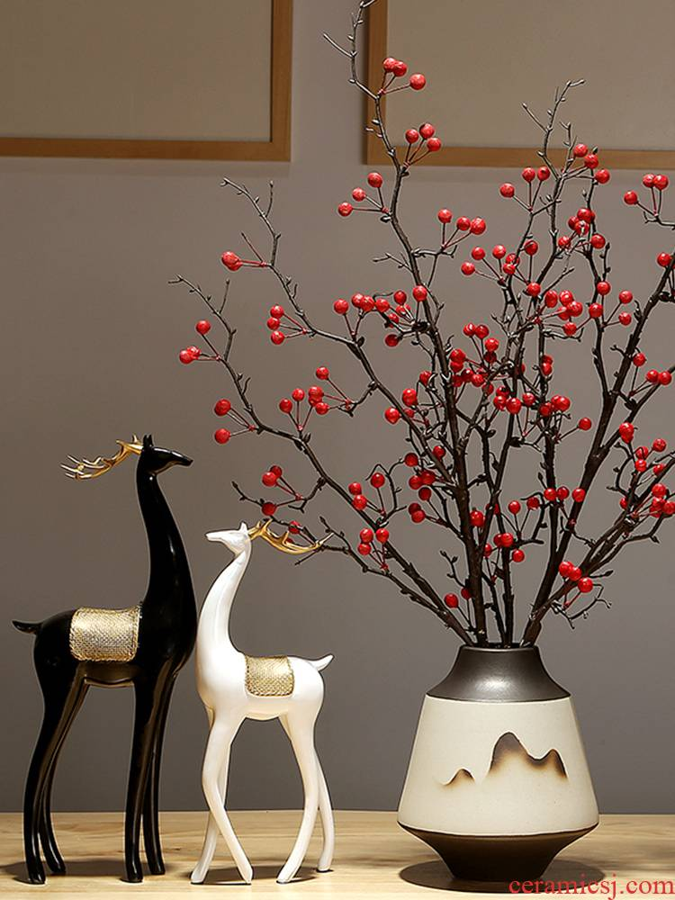 Jingdezhen ceramic vases, dry flower is placed sitting room table, TV ark, creative flower implement new Chinese style decoration flower arrangement