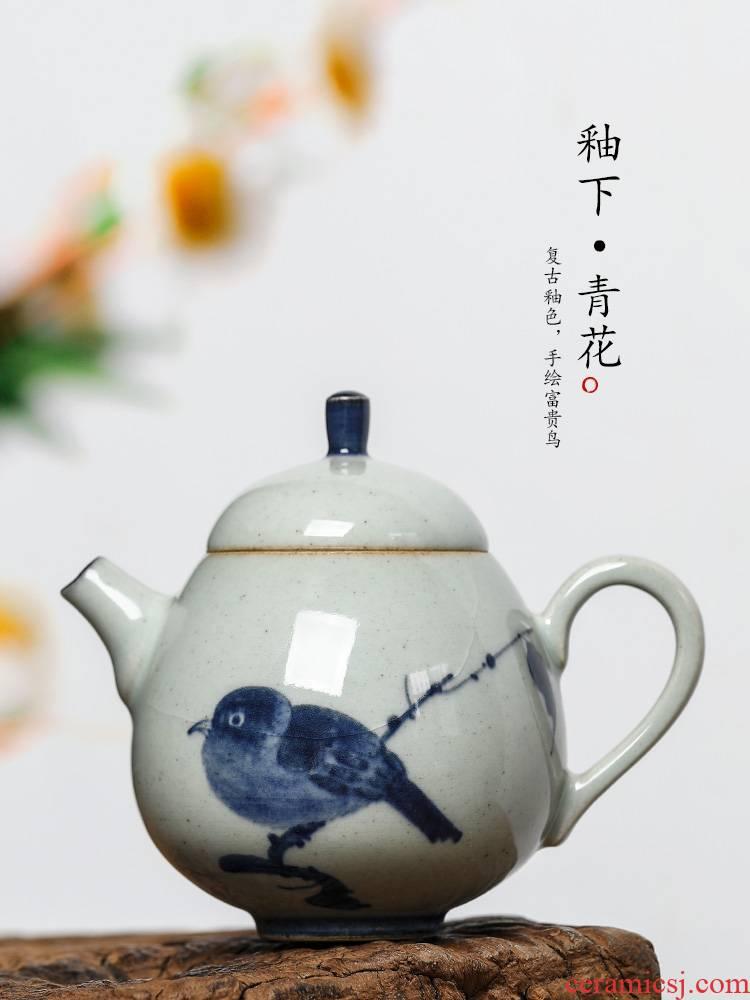 Pure manual jingdezhen blue and white teapot Chinese kungfu tea teapot hand - made riches and honour bird ceramic tea pot single pot