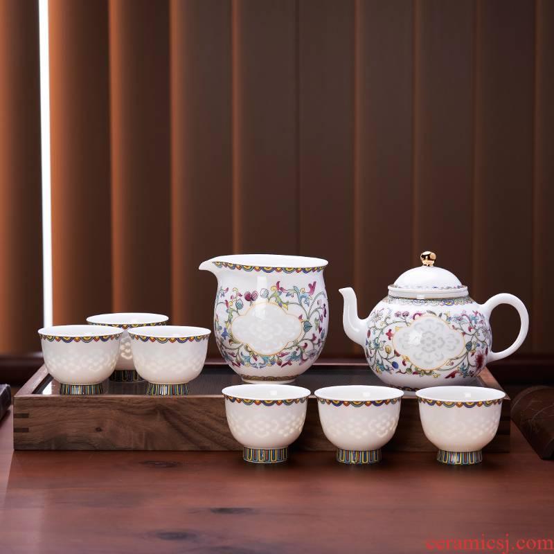Jade BaiLingLong famille rose tea set eight times the teapot tea sea fair keller jingdezhen porcelain six people with a snap