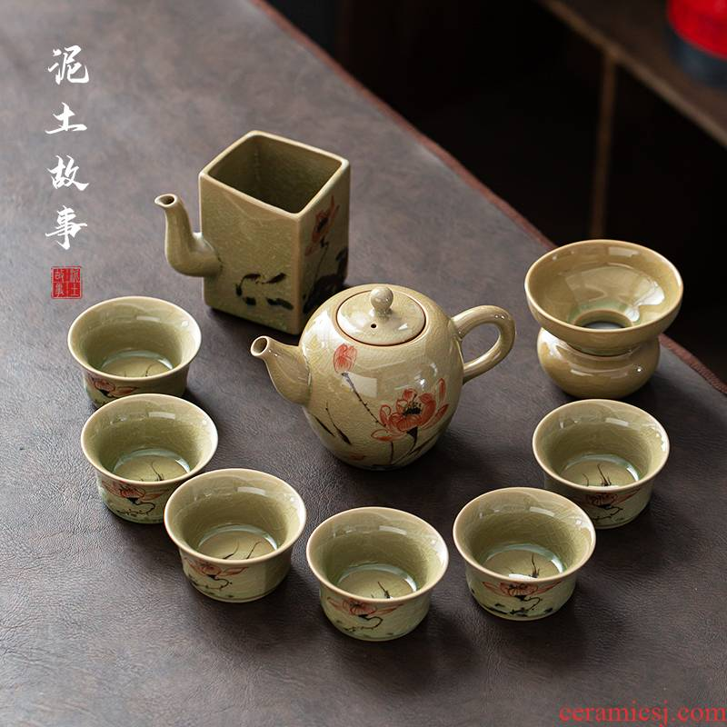 The up ice cracked piece of tureen tea set home a whole set of kung fu tea set ceramic I sitting room is contracted to customize