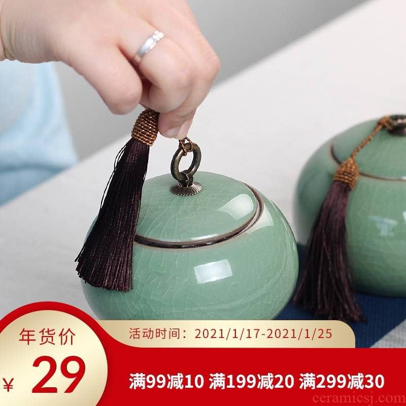 Big yards tea caddy fixings longquan celadon ceramic tea set large warehouse box storage tanks with portable puer tea sealed as cans