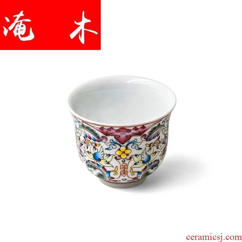 Submerged wood tea set custom 】 【 jingdezhen pure manual high - grade enamel porcelain lee record single CPU is perfect