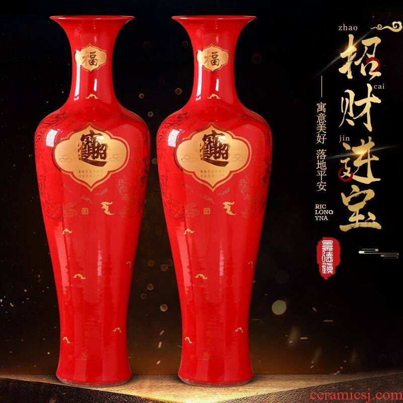 Jingdezhen ceramics a thriving business Chinese red large vases, Chinese style furnishing articles opening gifts large sitting room