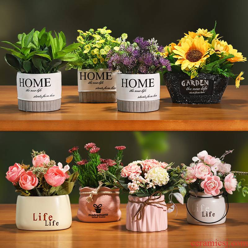 The sitting room TV cabinet table bonsai The plants indoor decorative ceramic pot small green plant simulation artificial flowers furnishing articles