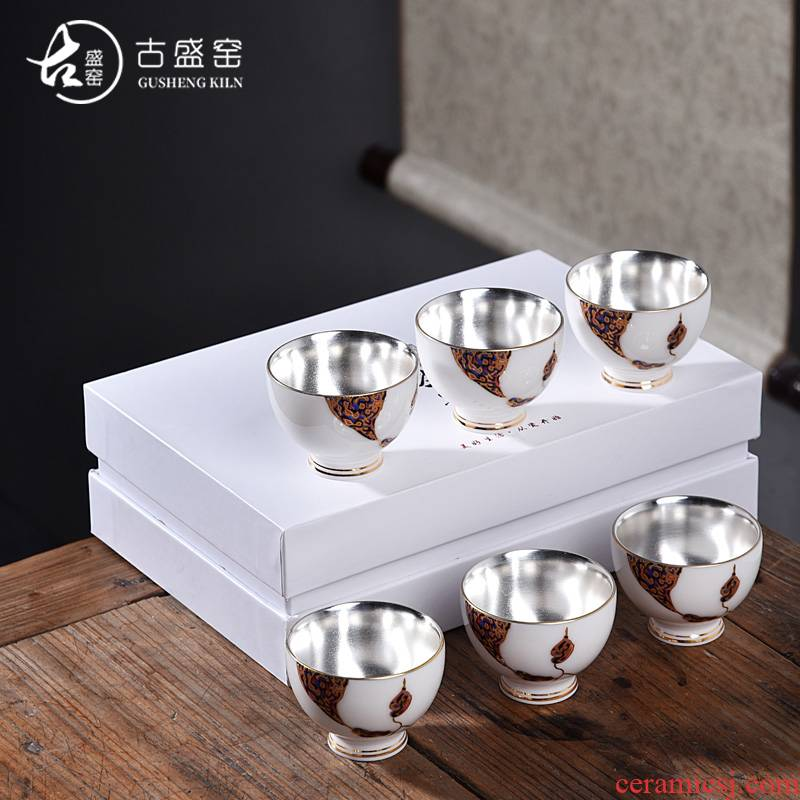 The ancient shing new white porcelain up with pure manual hand - made kung fu master sample tea cup suet jade ceramic cups cup single CPU