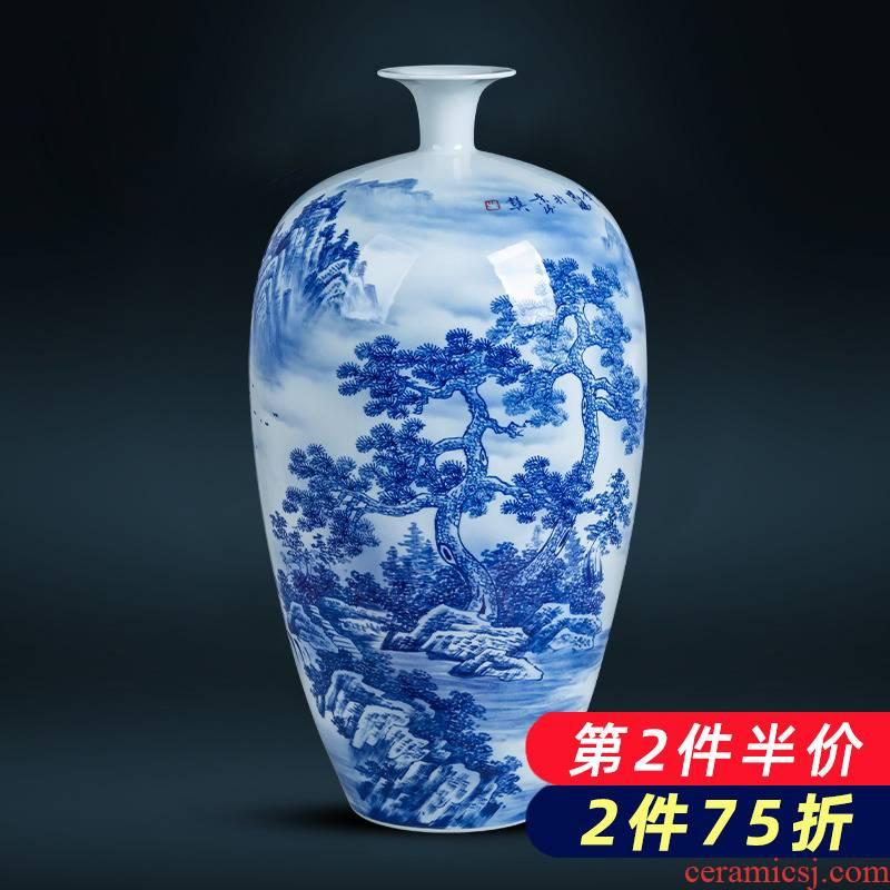 Jingdezhen ceramics hand - made landscape large blue and white porcelain vase sitting room exhibition hall decoration of Chinese style household furnishing articles
