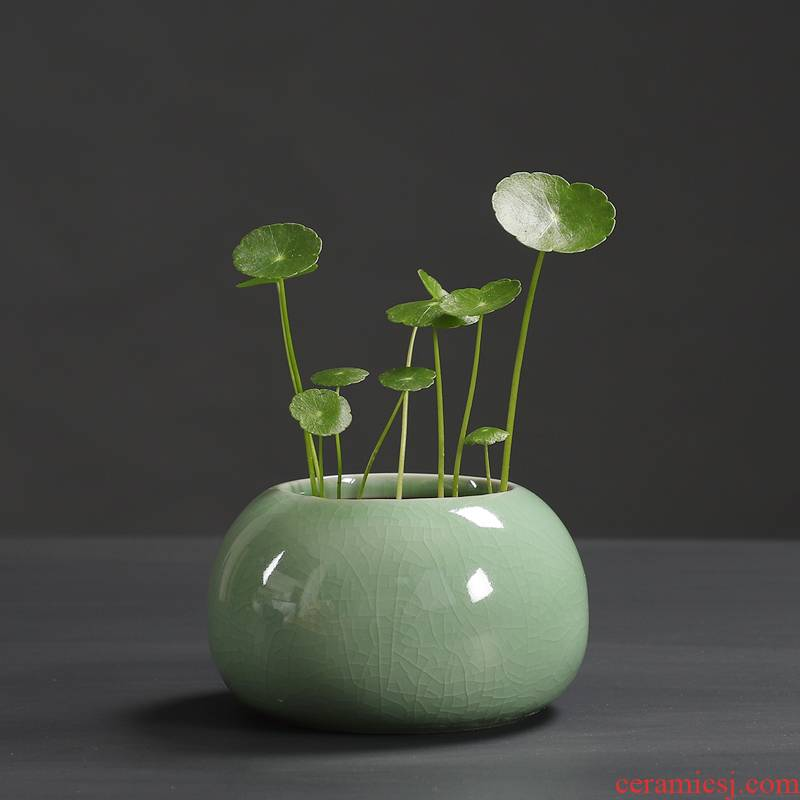 The elder brother of The ceramic up open a piece of pottery and porcelain hydroponic flower pot without Kong Hua to use green plant containers, small pure and fresh and desktop spend clearance