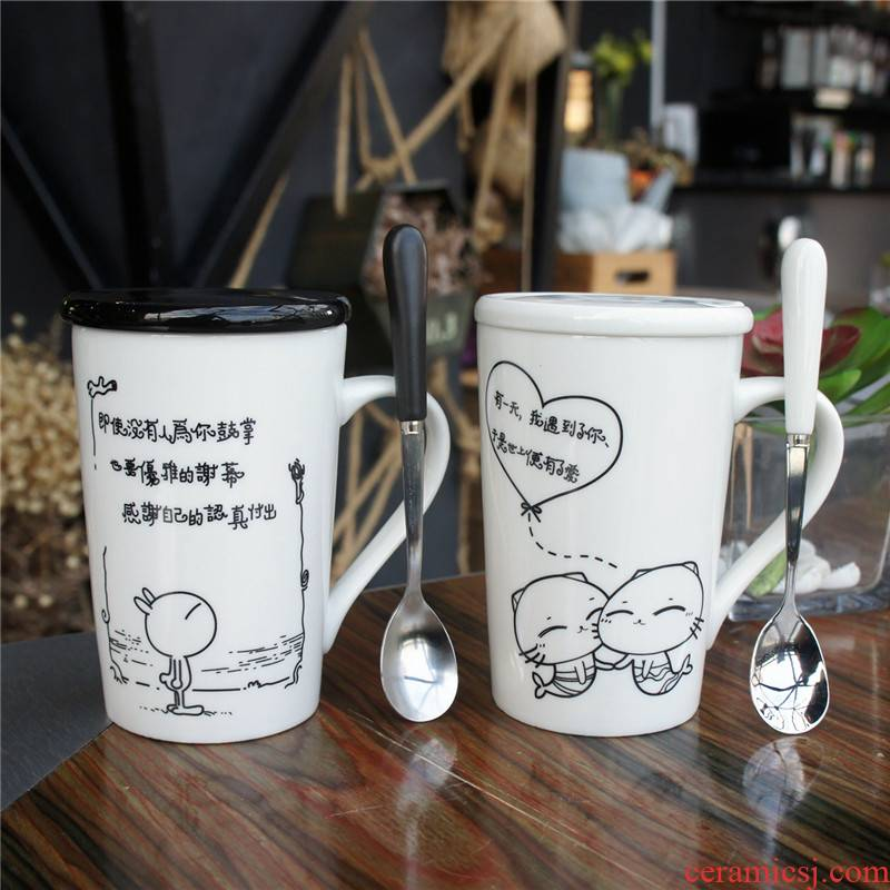 Simple mugs order new office coffee cup cup large capacity of milk couples ceramic cup with a spoon