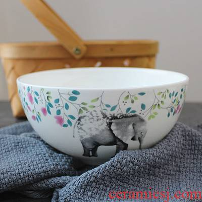 Japanese large soup bowl bowl of zakka ceramics creative home meal bowl circle bowl of instant noodles bowl large soup bowl