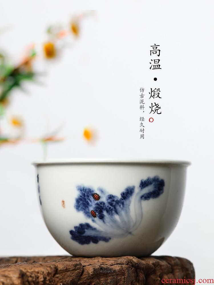 Jingdezhen porcelain teacup master cup single CPU hand - made white porcelain bowl sample tea cup single pure manual kung fu tea set