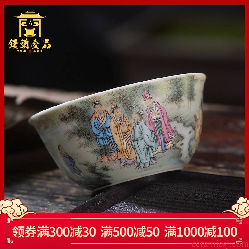 Jingdezhen ceramic all hand - made pastel bamboo seven sages masters cup kung fu tea sample tea cup charm of single CPU