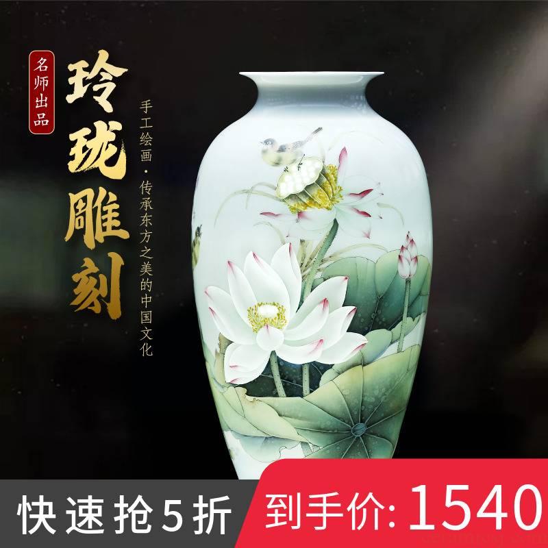 Jingdezhen ceramics hand - made lotus flower vase light key-2 luxury furnishing articles of Chinese style household living room TV ark adornment arranging flowers