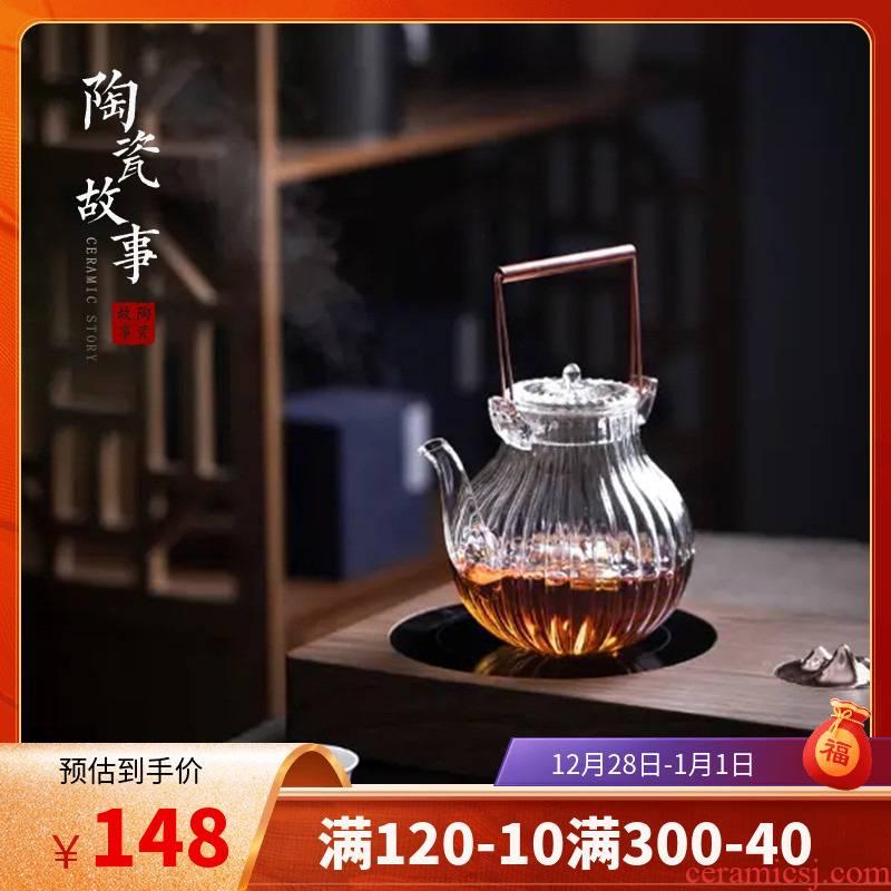 Ceramic heat - resistant glass teapot tea Japanese and wind boiled tea story household girder single pot of tea kettle