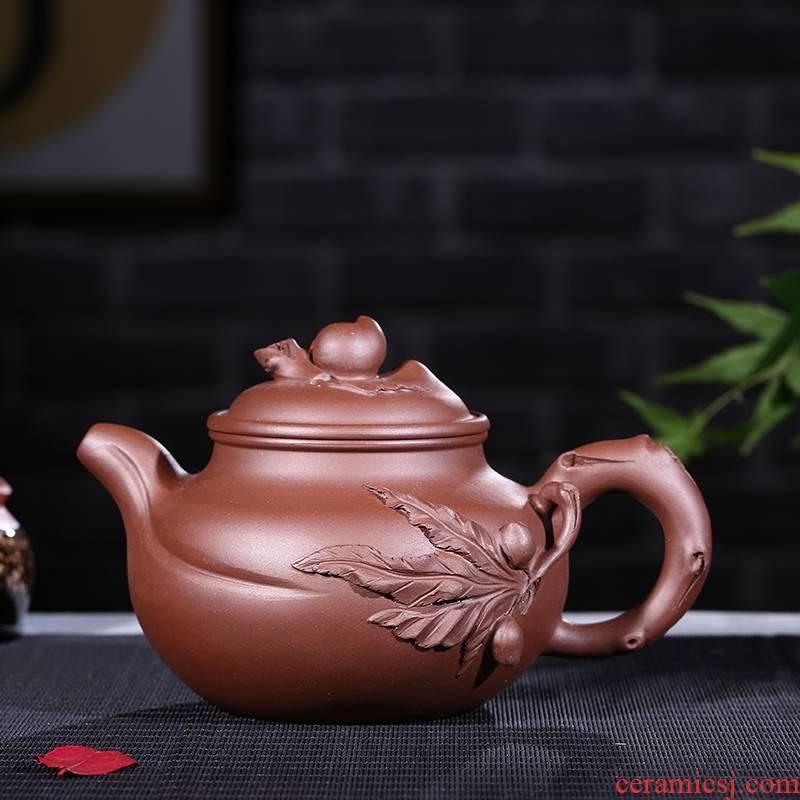 Yixing it undressed ore peach purple clay pot capacity of 420 ml new tea set