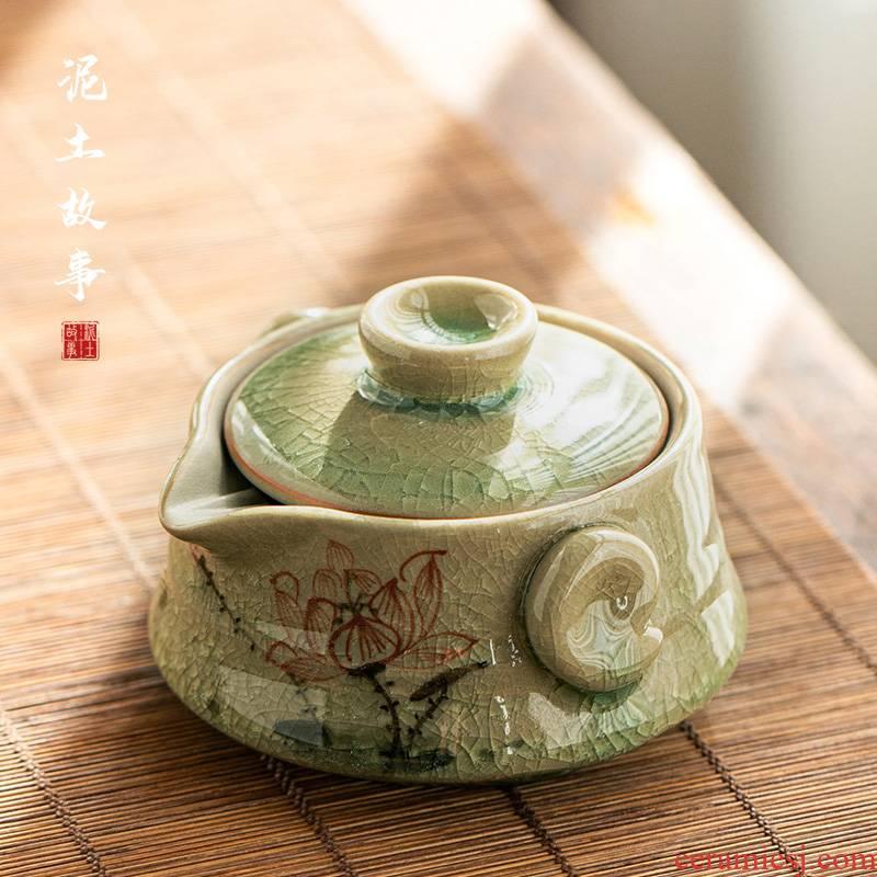 Jingdezhen hand - made lotus ice to crack the up ceramic manual hand grasp pot of tea bowl tea teapot single pot of household