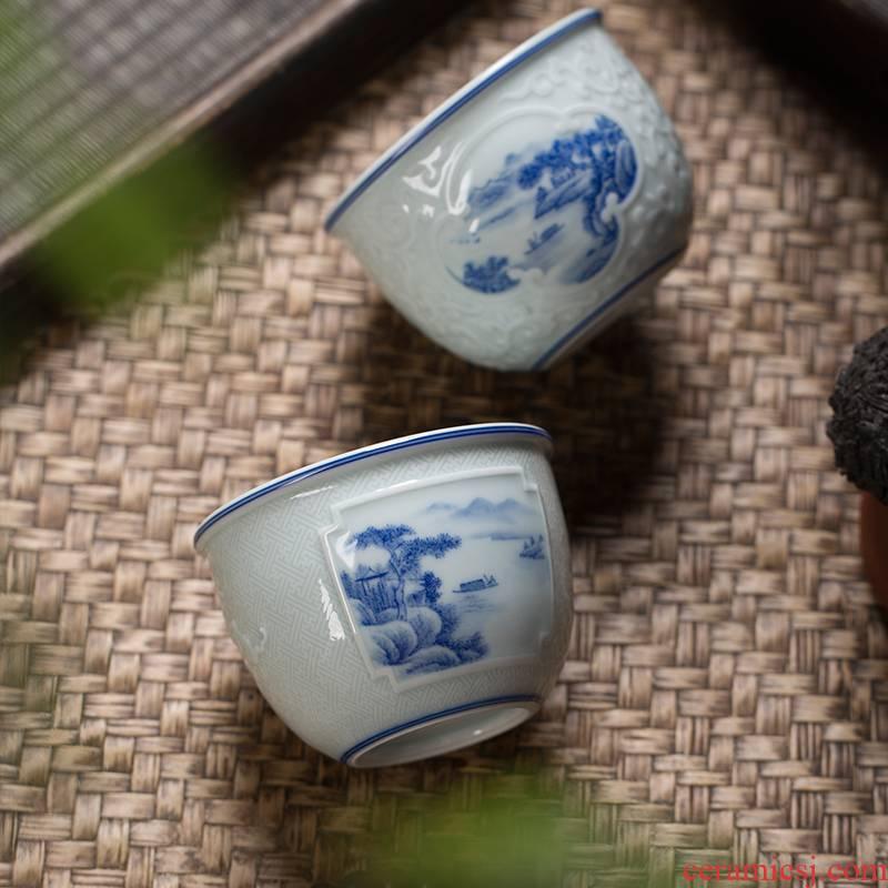 The Owl up jingdezhen porcelain hand - made landscape tea hand - carved ceramic kung fu tea master cup cylinder cup