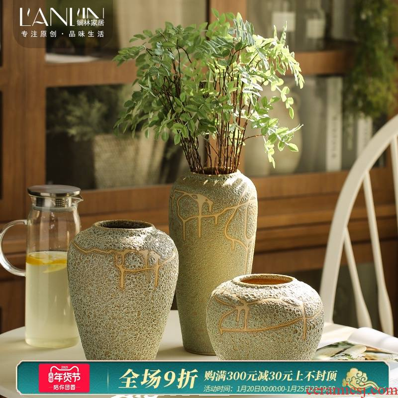 Ceramic vase furnishing articles creative living room coarse pottery flower arranging dried flowers European - style mesa contracted and I tea table decorations