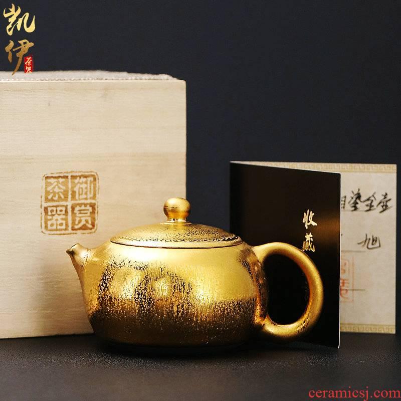 Zeng, Guangxu gold of firewood temmoku built one single pot of ceramic teapot household pure manual ball hole, xi shi pot teapot