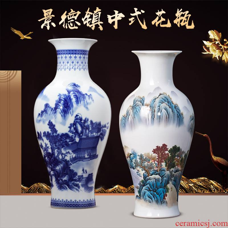 Blue and white porcelain of jingdezhen ceramics lucky bamboo vases, flower arrangement sitting room adornment of Chinese style household TV ark, furnishing articles