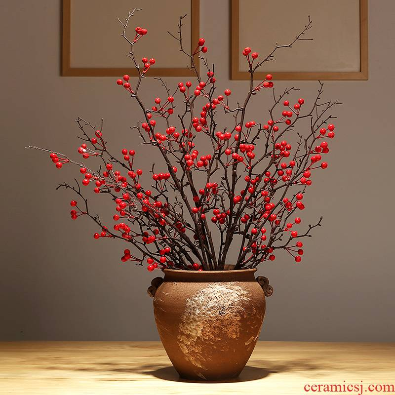 Modern classical jingdezhen vase sitting room porch dried flower flower arranging new Chinese style simulation flower adornment ornament