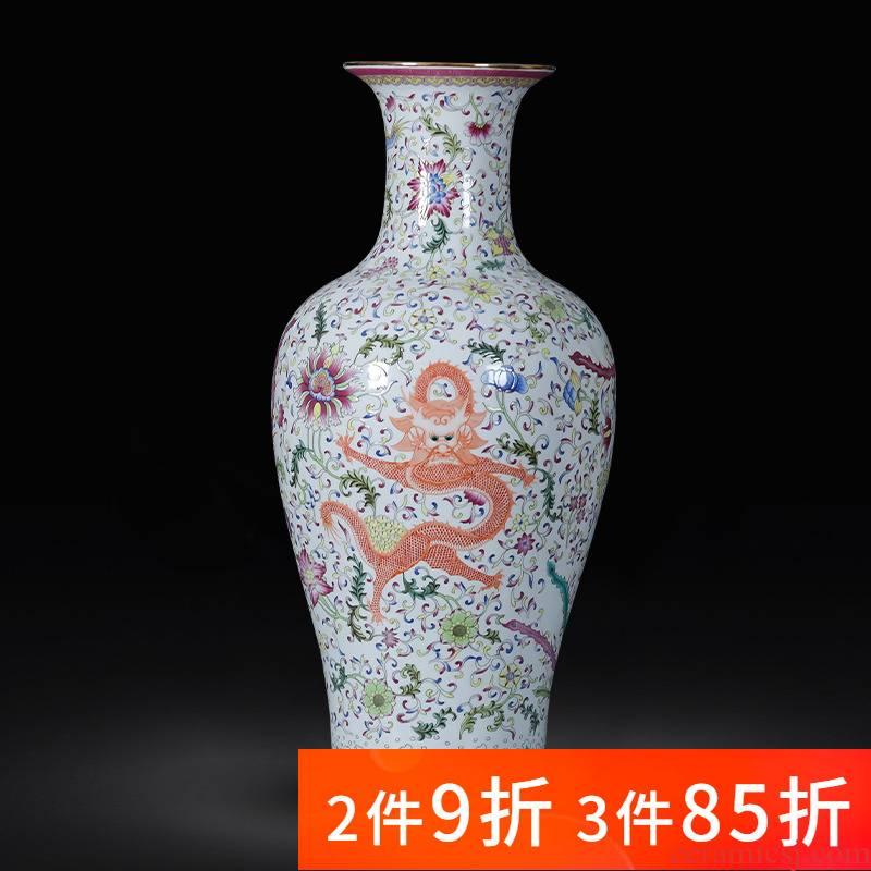 Jingdezhen ceramic famille rose porcelain antique porcelain longfeng landing large vases, furnishing articles sitting room of Chinese style household decoration