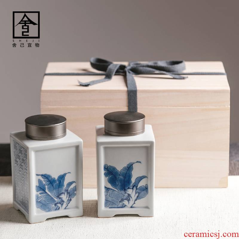 "The Self - ""appropriate content caddy fixings POTS sealed as cans ceramic jingdezhen ceramic pot of tea, white tea retro green storage tanks"