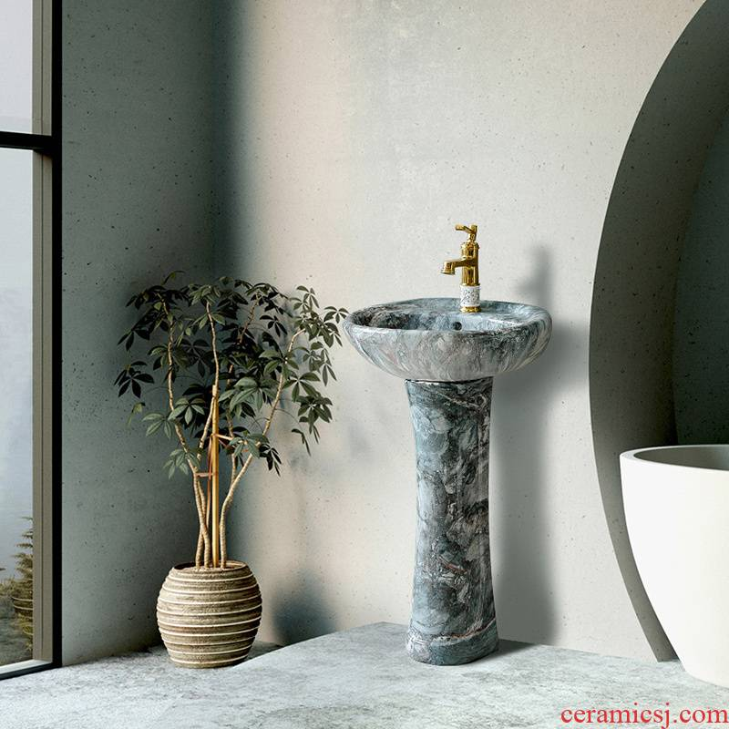 Vertical lavatory ceramic floor I and contracted household column sink northern small family toilet lavabo