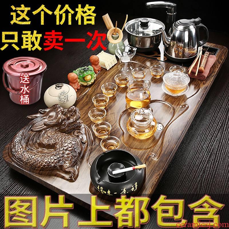 Hui shi kung fu tea tea set with the sitting room of household solid wood tea tray was all semi - automatic tea ceramic modern Jane