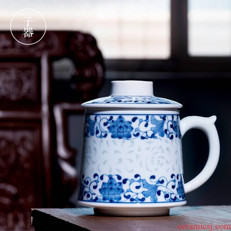 Jingdezhen porcelain and exquisite filtering cup tea separation ceramic tea cup men 's large high - grade office cup