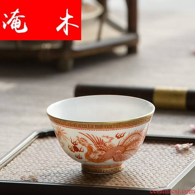 Submerged wood jingdezhen ceramic tea set hand - made longfeng cup gold sample tea cup master cup single cup bowl can be set