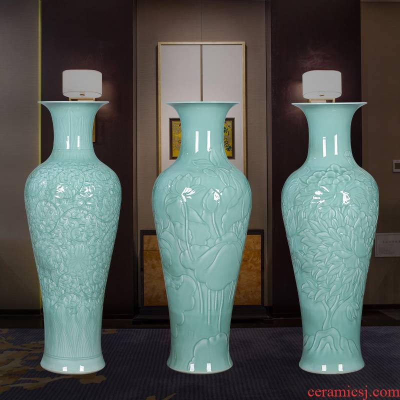 Jingdezhen ceramics of large vase large blue glaze hand - carved furnishing articles open Chinese style household ornaments