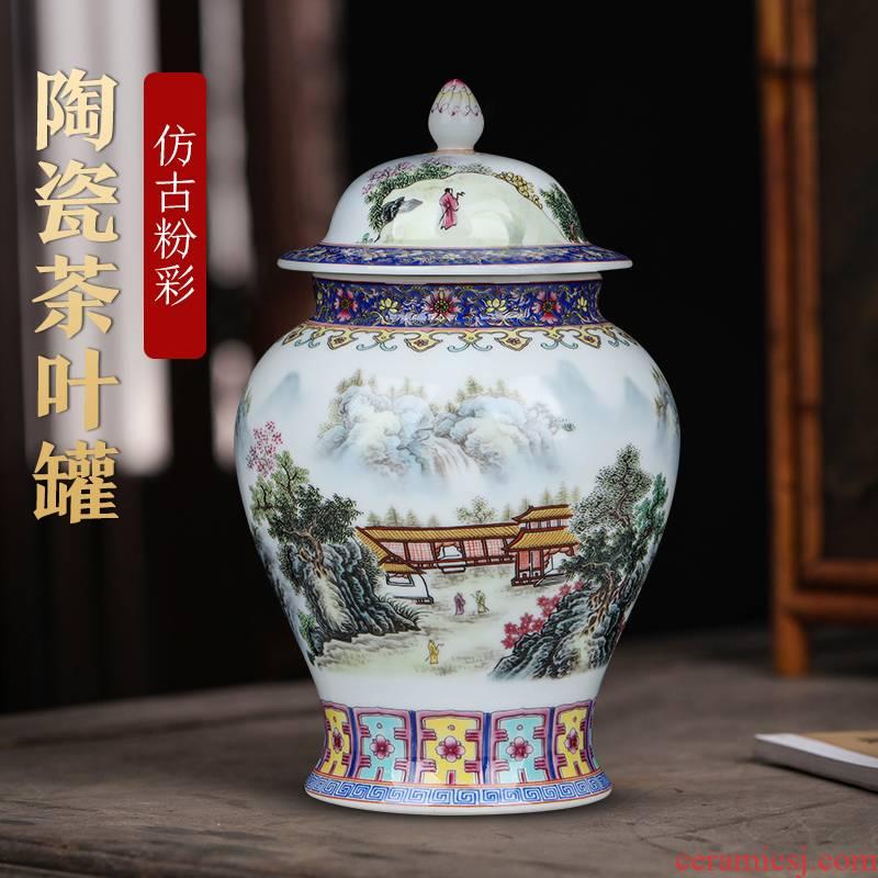 Jingdezhen ceramic general tin trumpet wake tea POTS with cover the tea pot seal furnishing articles storage tank ornament