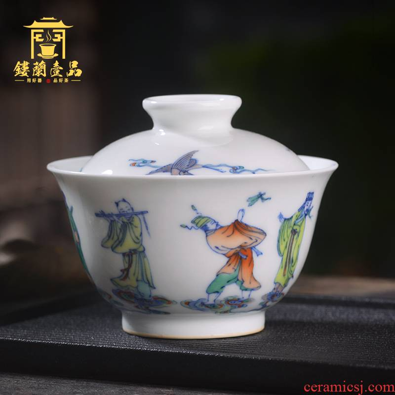 Jingdezhen ceramic all hand - made bucket colorful eight immortals only two to three tureen tea bowl of kung fu tea set individual with cover