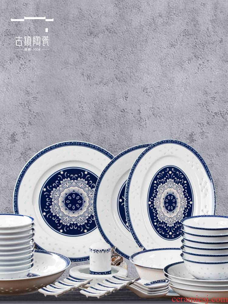 Jingdezhen ceramic bowl of light key-2 luxury household jobs move cutlery set dishes microwave special big noodles in soup bowl