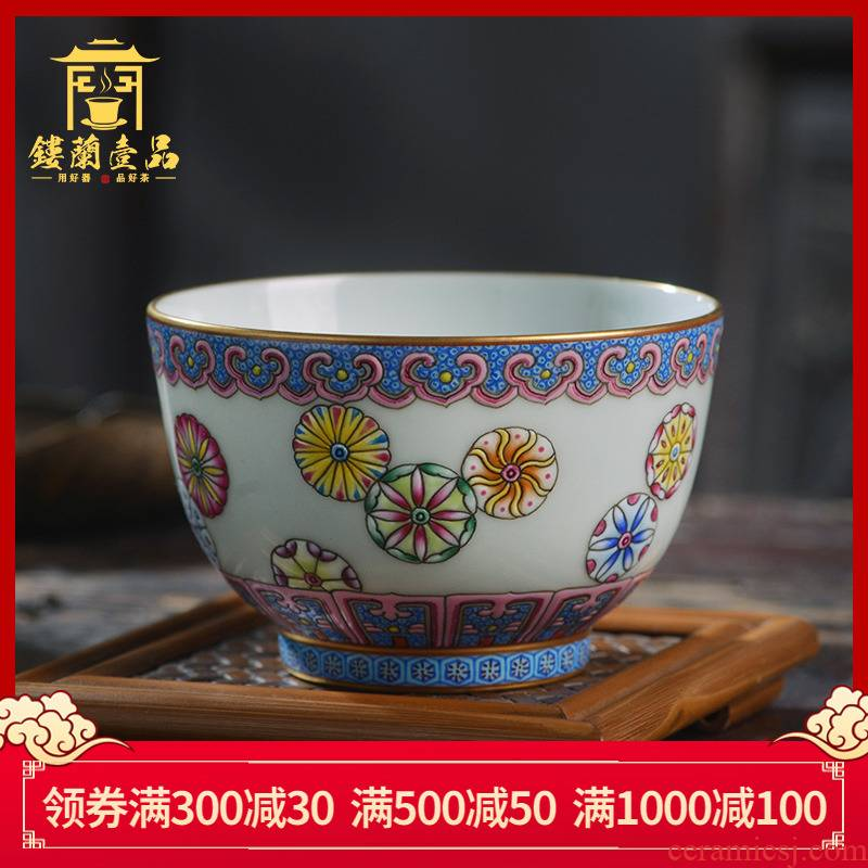 All hand - made pastel ball take master of jingdezhen ceramics kung fu tea tea cup large single glass bowl