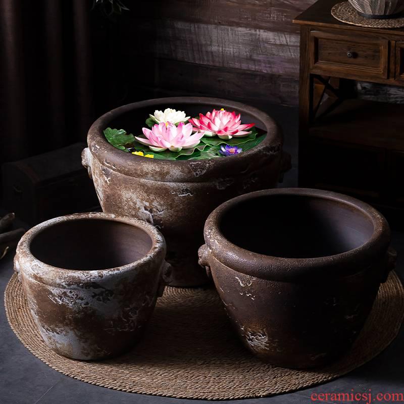 Jingdezhen thick ceramic large aquarium archaize square, lotus lotus basin plutus courtyard balcony potted landscape furnishing articles