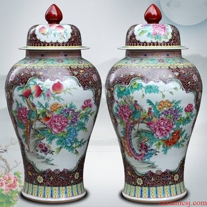 Jingdezhen ceramic general tank hand - made pastel phoenix peony figure of large vases, sitting room of Chinese style household furnishing articles