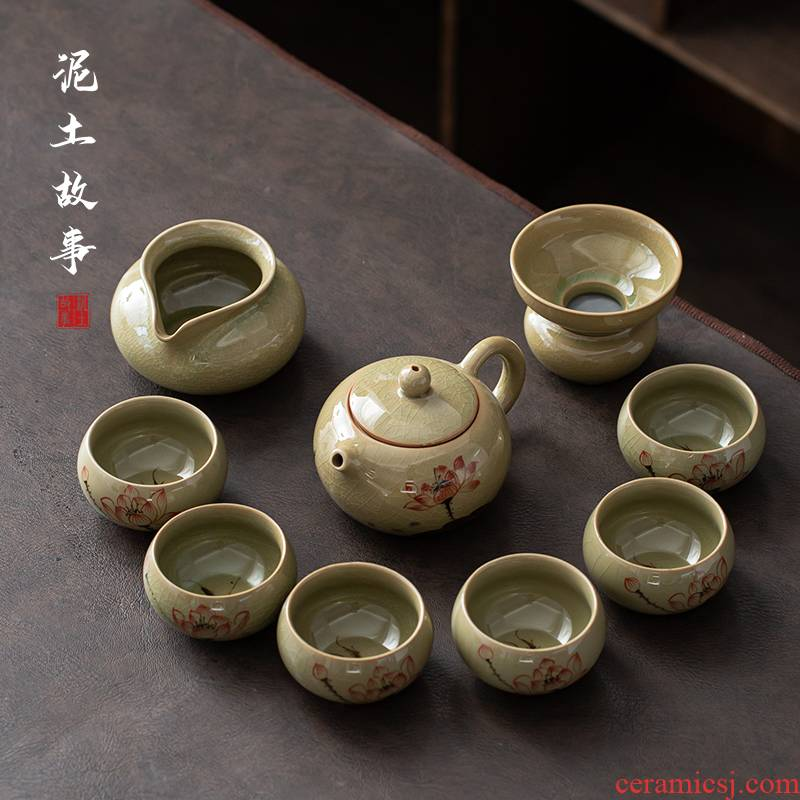 Earth story kung fu tea set household contracted white porcelain lid to use the visitor make tea cup custom office