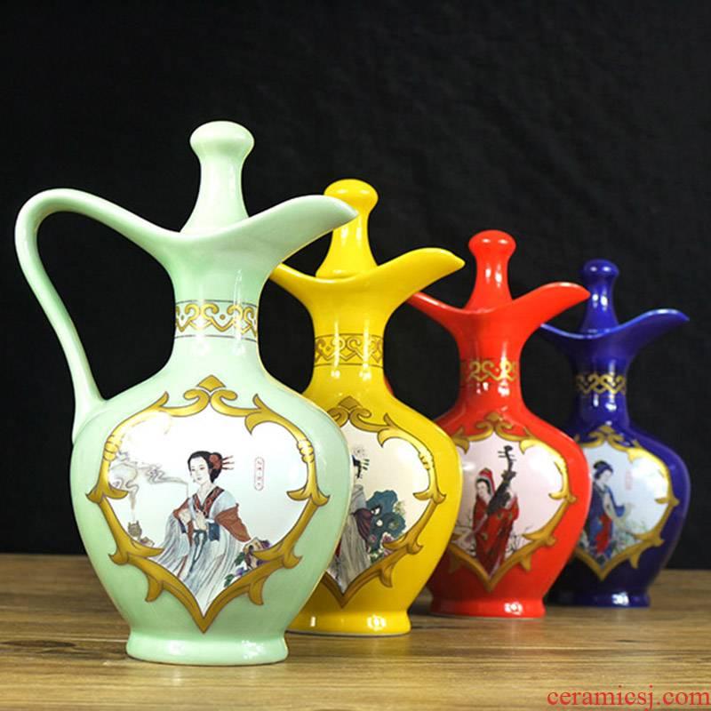 1 kg pack of jingdezhen ceramic wine bottle bottle seal hip bottle wine the four most beautiful women jugs jars
