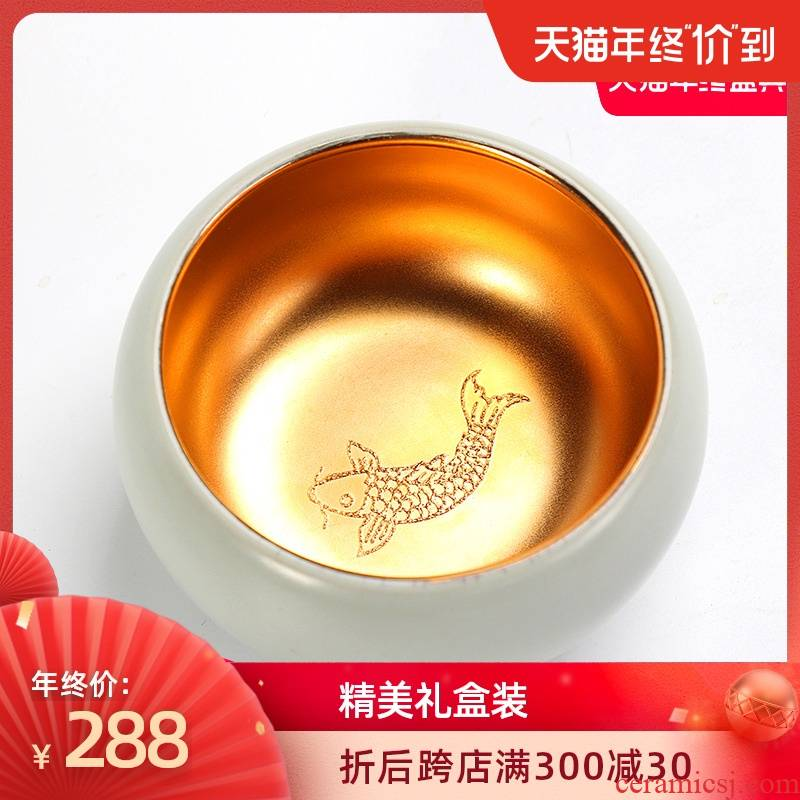 Artisan fairy gold light your up master cup single cup large gold cup open cups ceramic sample tea cup for its ehrs health