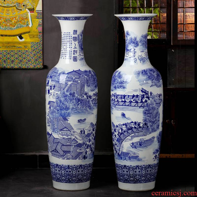 Blue and white porcelain of jingdezhen ceramics qingming scroll of large vases, Chinese style living room TV cabinet decorative furnishing articles