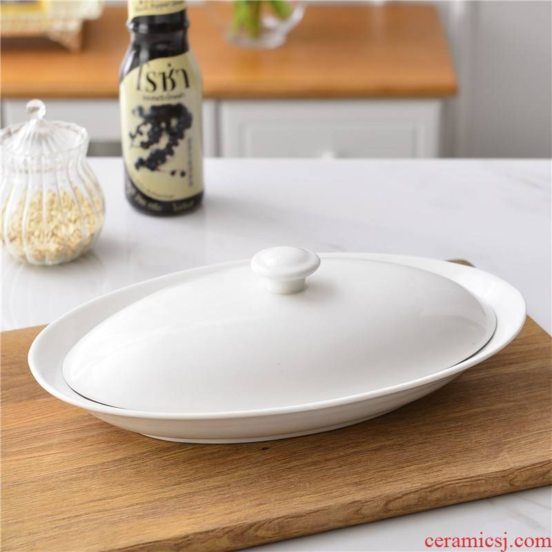 Ceramic hotel for FanPan fish dribbling cover microwave elliptic steamed fish plate household food steaming plate steamed fish dishes