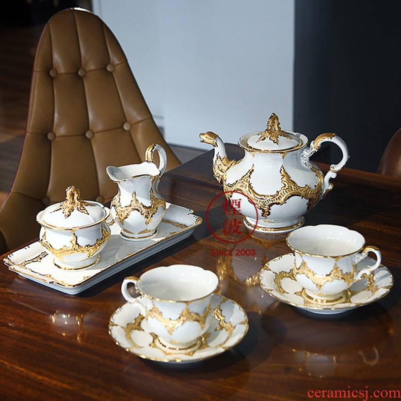 German mason MEISSEN porcelain - Form B series white paint cup teapot tea set