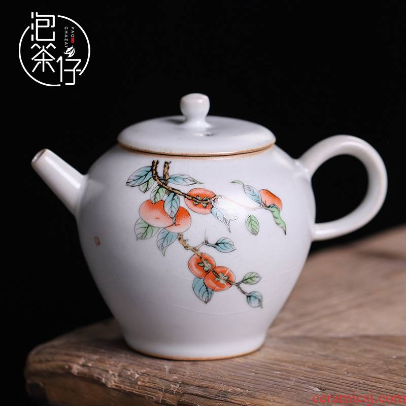 Hand your up teapot tea seed from the single pot opening piece can keep ice to crack a single household of Chinese style of pottery and porcelain trumpet