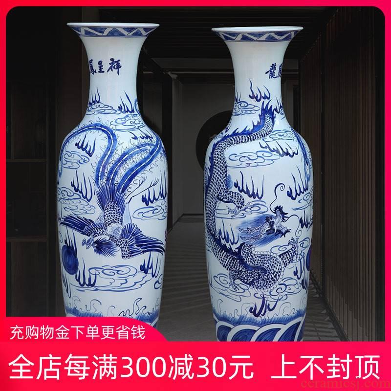 Hand made blue and white longfeng big vase vase of porcelain of jingdezhen ceramics of large sitting room adornment hotel furnishing articles